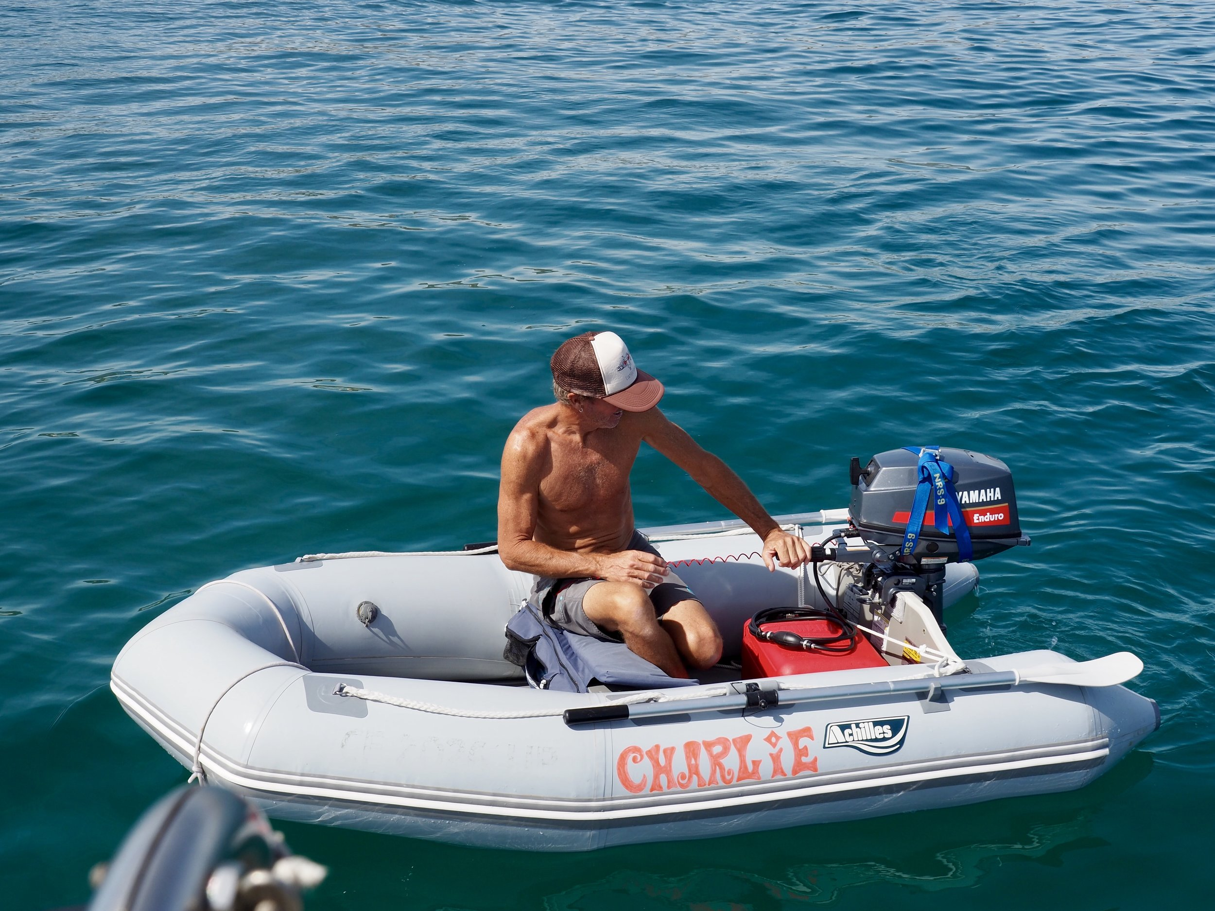 Colin took the opportunity to try out the new outboard.