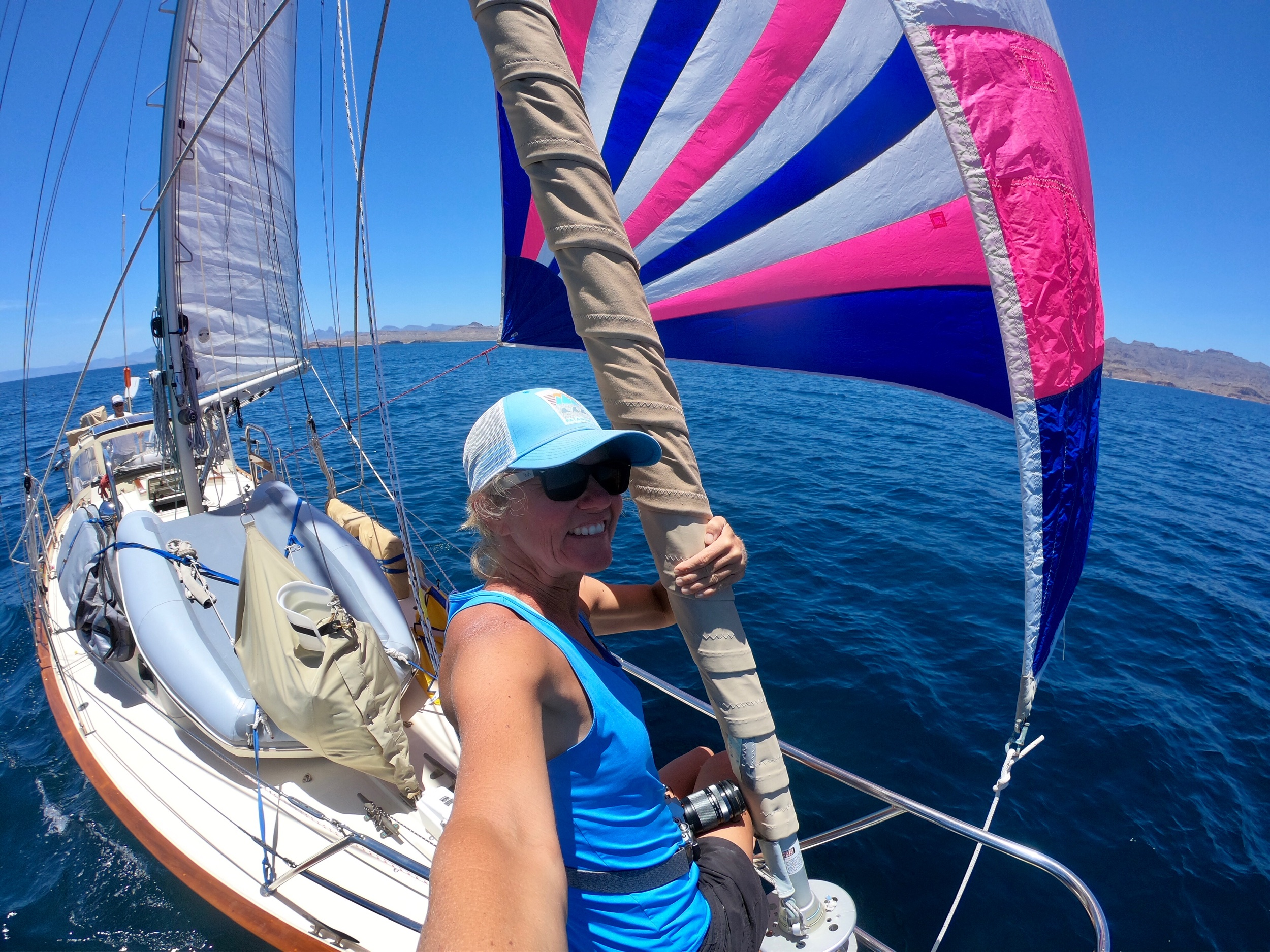 The trade off for light air? Spinnaker weather! (Technically, since we've flown heavy race kites in 30 knots, I should say the right conditions for the light 155% spin drifter we have aboard.)