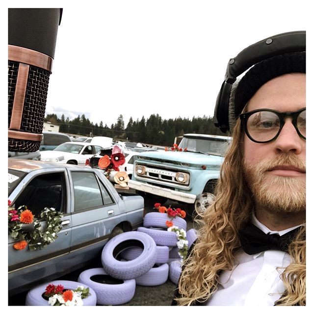 This is a selfie that I took on the set of 'Junk-Jams / Sunn Days'. Did you see the video yet?  A selfie is a picture that you take of yourself. Did you hear my new song 'Sunny Days'? Whatd'ya think? You see those tires in the background? Me & my buddy Bluto painted them in my driveway. It took hours. See how dedicated we are to art? Ok. Luh you. Check the link in my bio. Thanks for listening to my songs.
