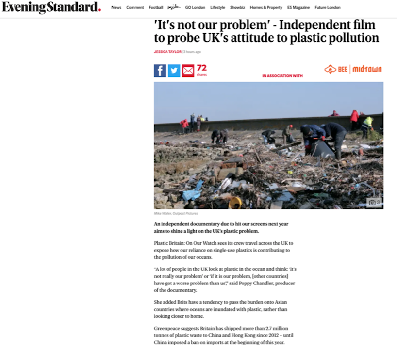 'It's not our problem' - Independent film to probe UK's attitude to plastic pollution - https://www.standard.co.uk/futurelondon/theplasticfreeproject/documentary-to-expose-uks-plastic-problem-a3994136.html