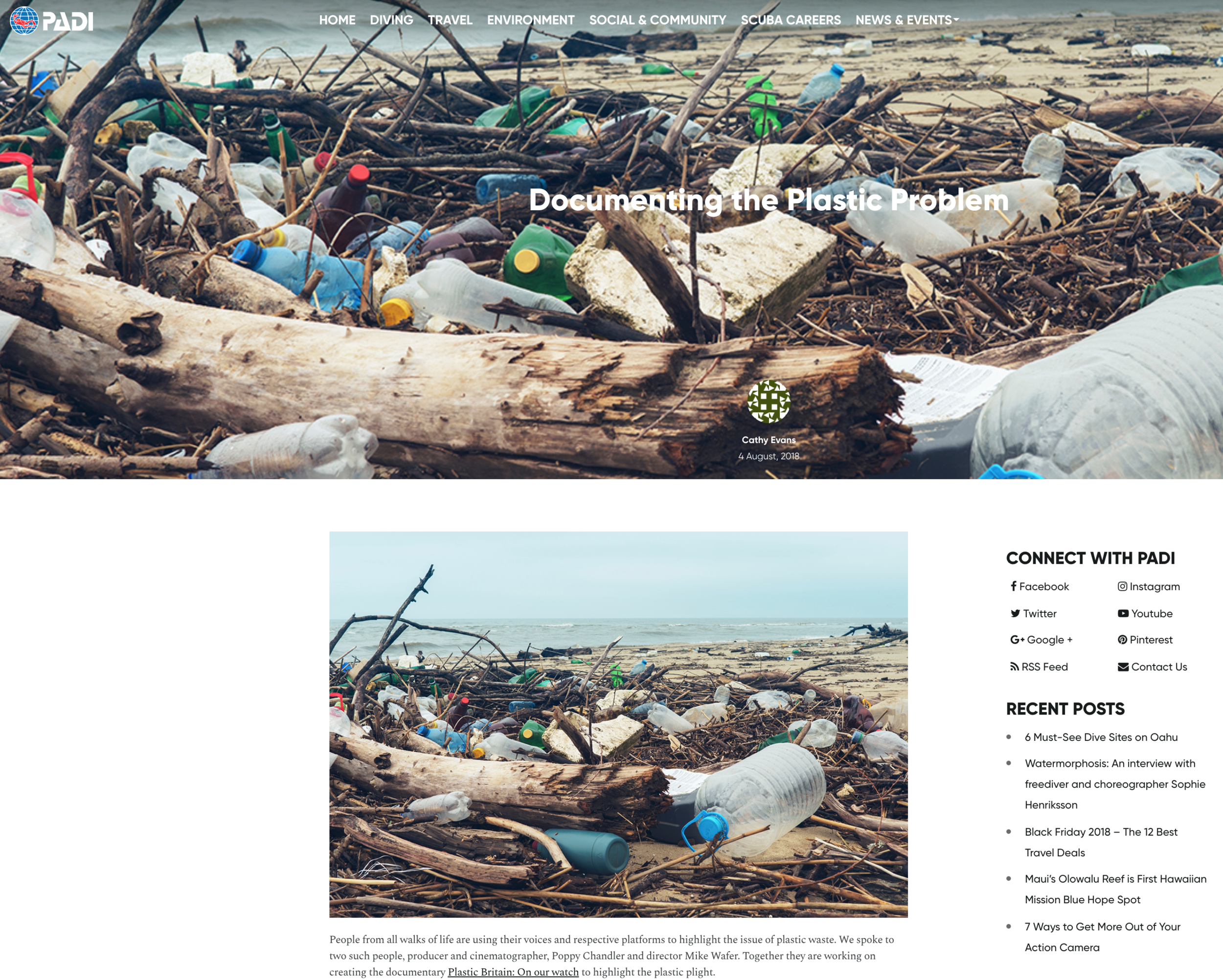 'Documenting the plastic problem' - https://www2.padi.com/blog/2018/08/04/documenting-plastic-problem/