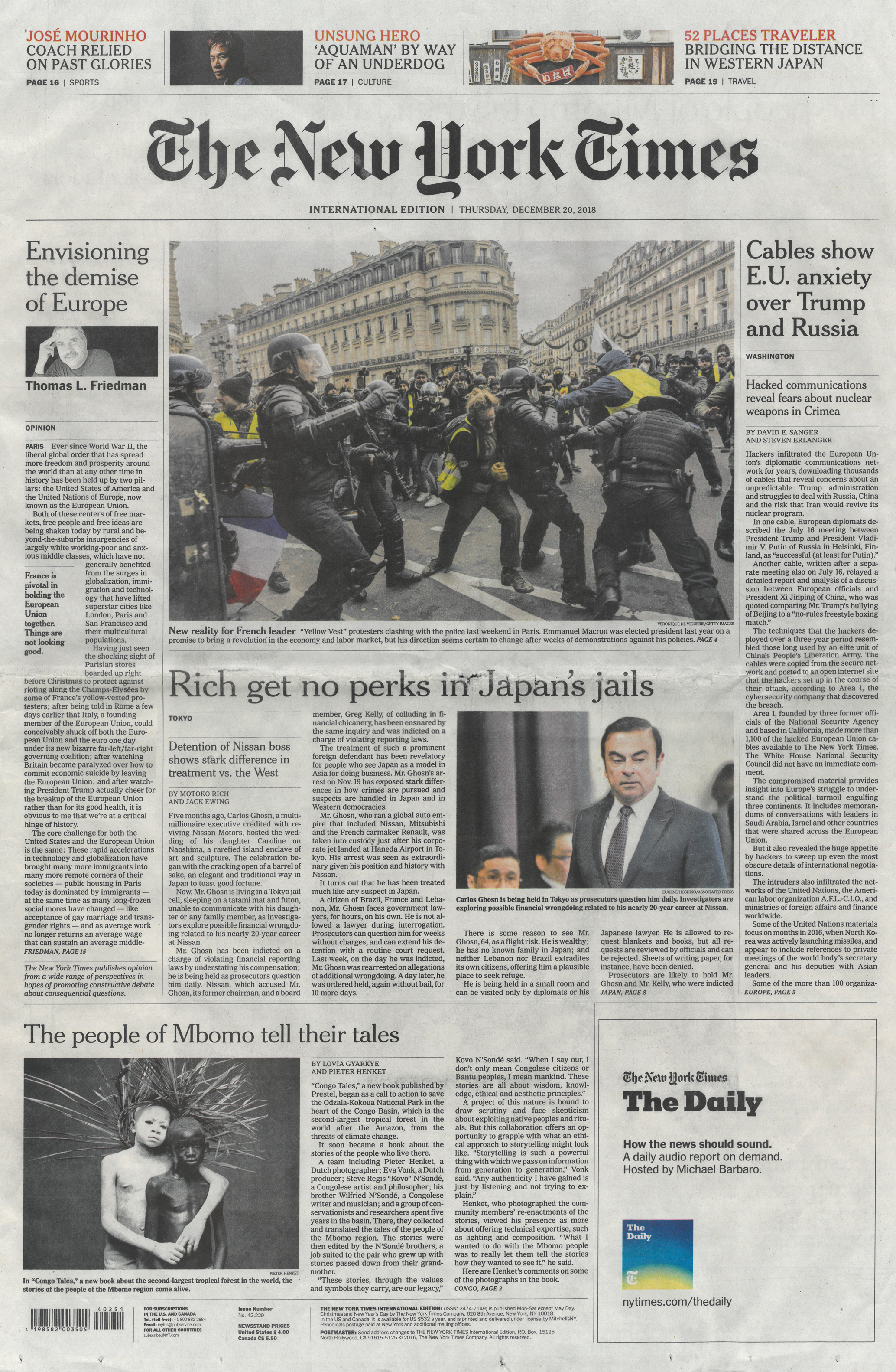 Times International Front Page