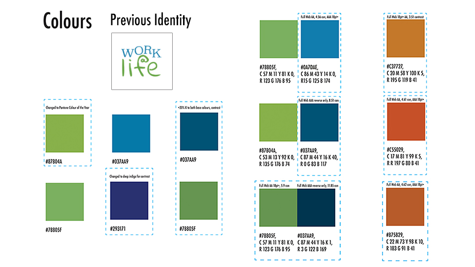 Rough colour palette and the original identity design.
