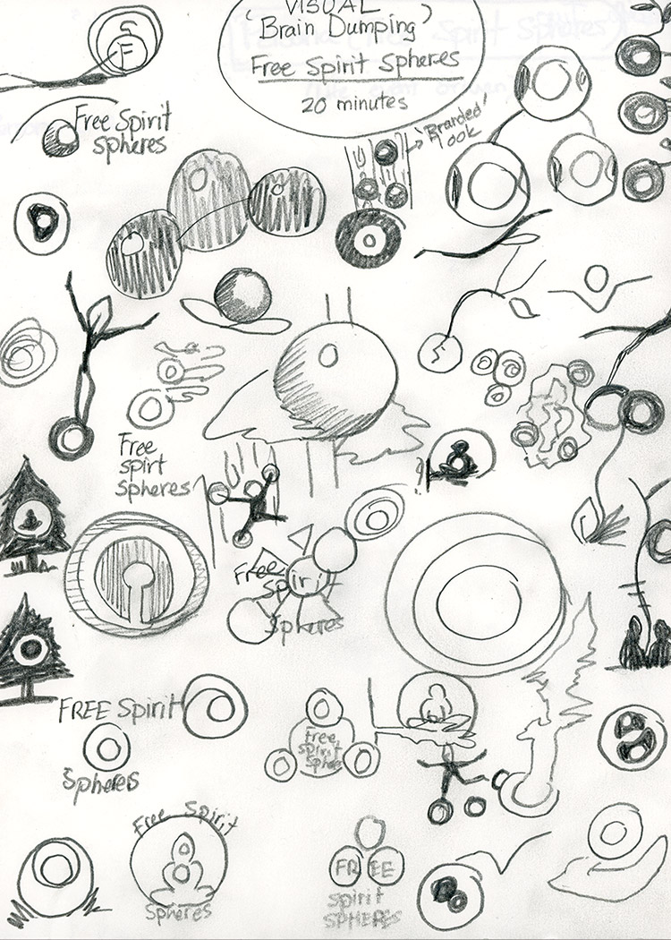 50 thumbnail sketches for the main identity design.