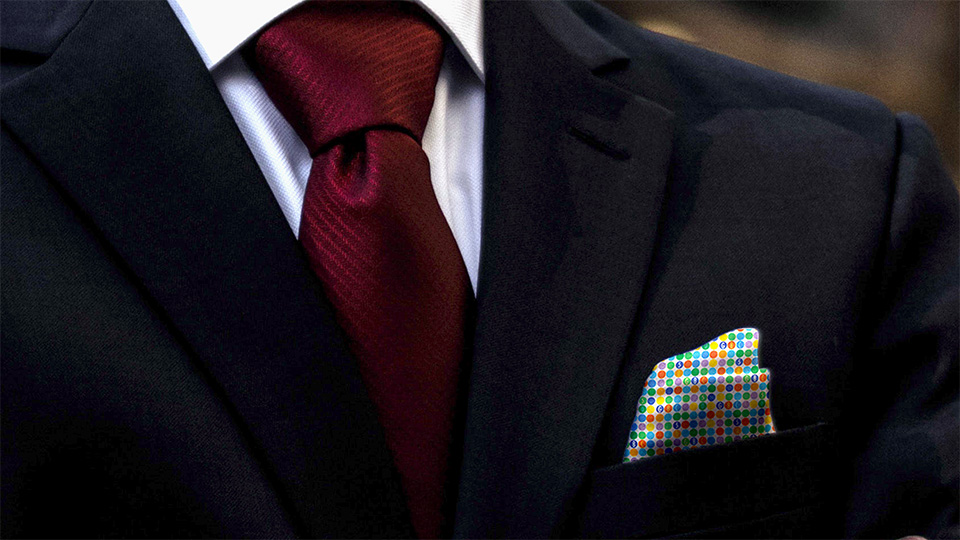 The GBC 50th pocket square in action.