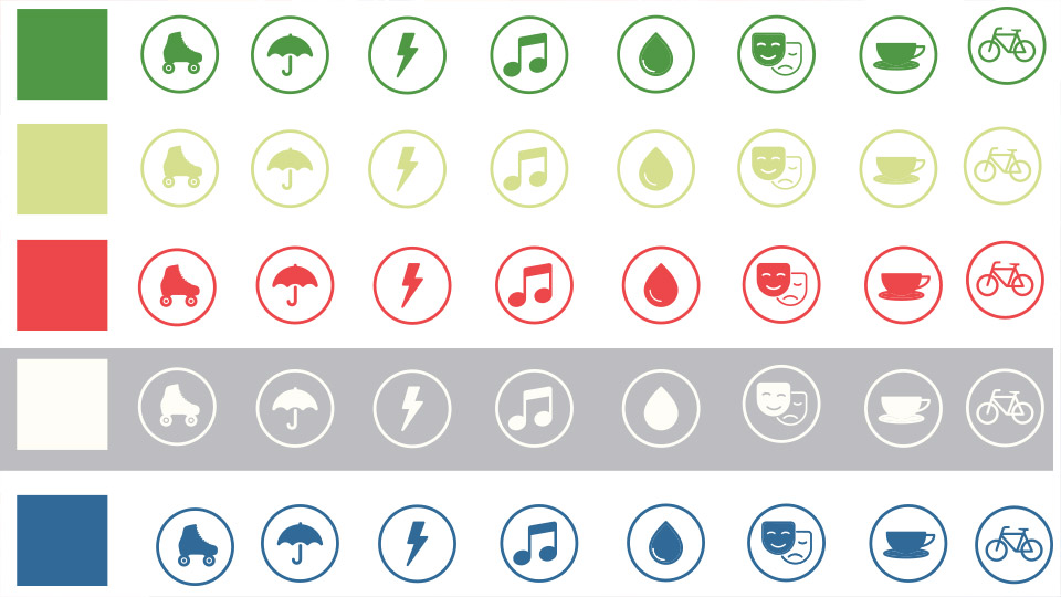 Utopi brand system colour palette and icon set