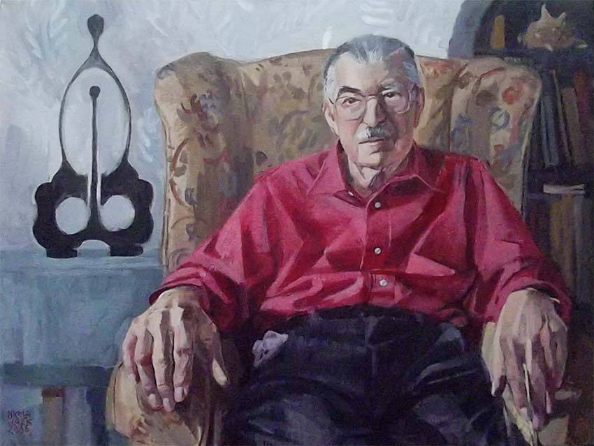 This painting of my grandfather by talented artist and friend of his,  Nicola Clark . Sat in his armchair flanked by one of his sculptures, I imagine that he is lost in thought about the next artwork he wants to create.
