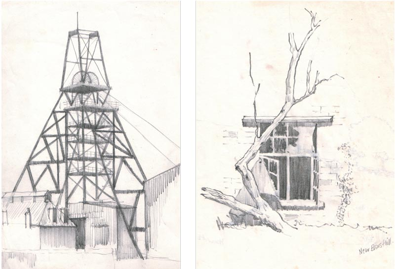 Pencil study of South Crofty Mine, Cornwall (left). Window detail from a derelict building, right.