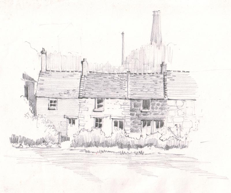 Pencil study - Cornish cottages, Carn Brea