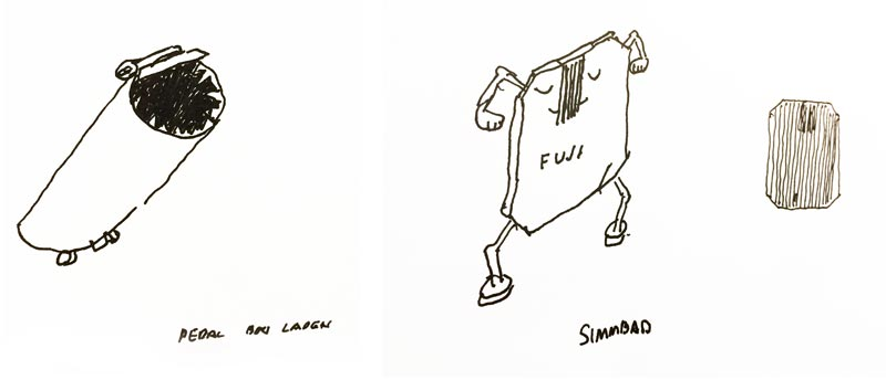 My father's illustrations of 'Pedal Bin Laden' and 'Simmbad', 2012