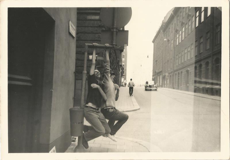 Stockholm, 1970 - My father (right) and lifelong friend Ian Rowden (left) monkeying around