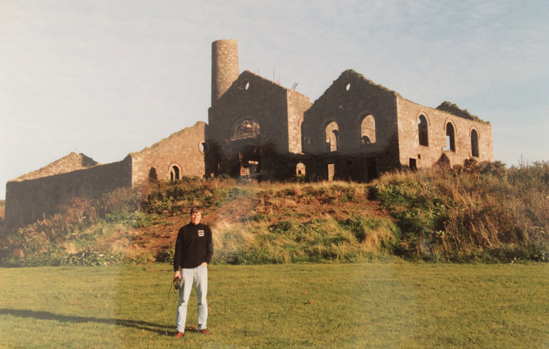 My father standing in front of Marriots shaft at Bassets Mine, one of the many Cornish mines he restored and made safe for the public to visit during the 1990s