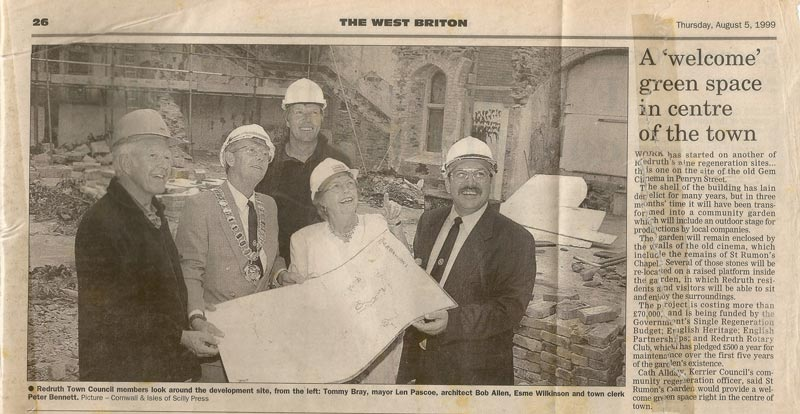 A newspaper clipping that I kept from 1999 showing my father (the tall one!) on the derelict site before he transformed it into a beautiful garden.