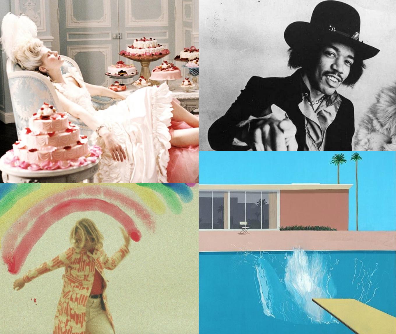 - De haut en bas et de gauche à droite : «Marie-Antoinette » de Sofia Coppola, la chanson «The Babe Rainbow » de Monky Disco, Jimi Hendrix, David Hockney.