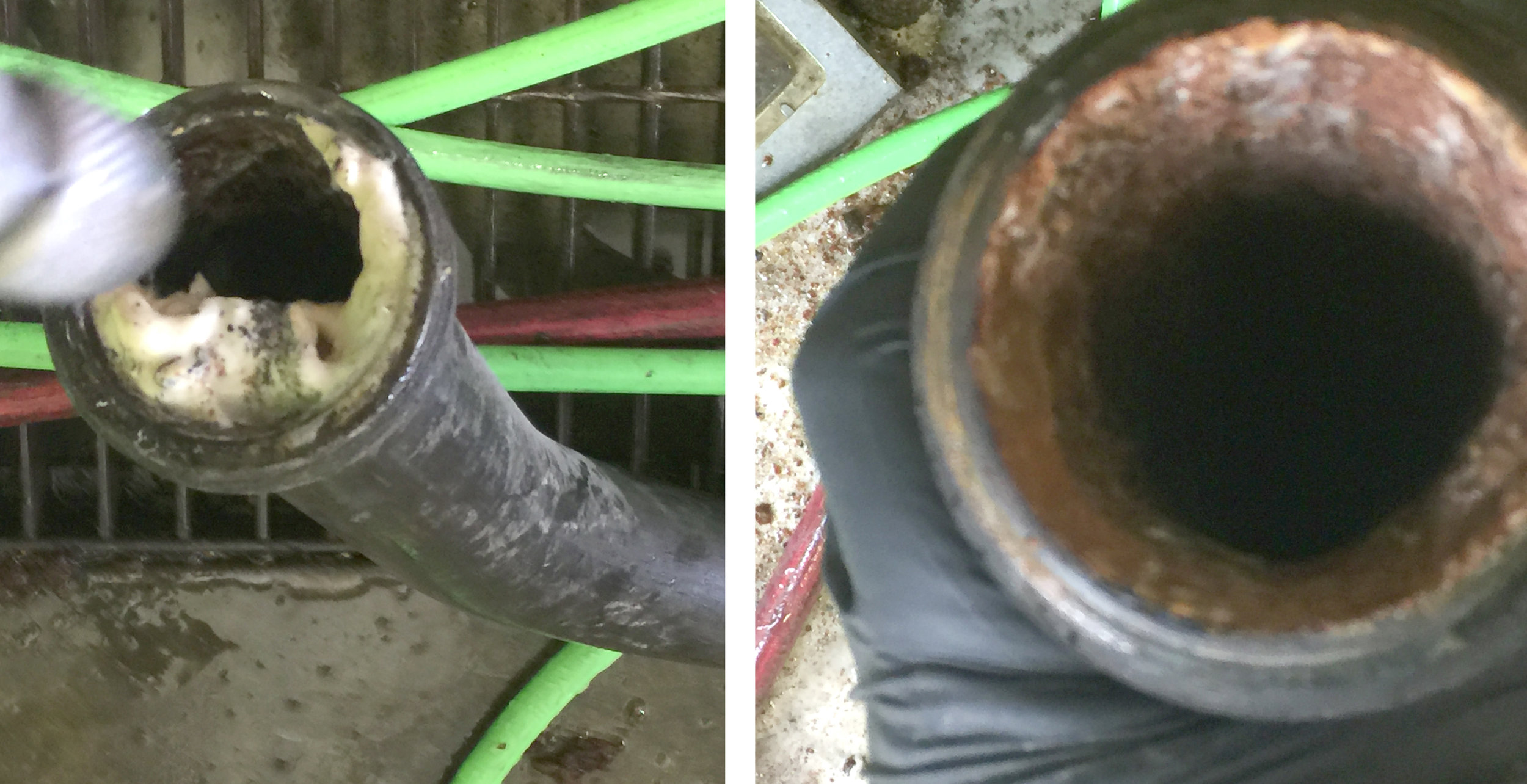 Build-Up in Line                                       Line After Cleaning Service