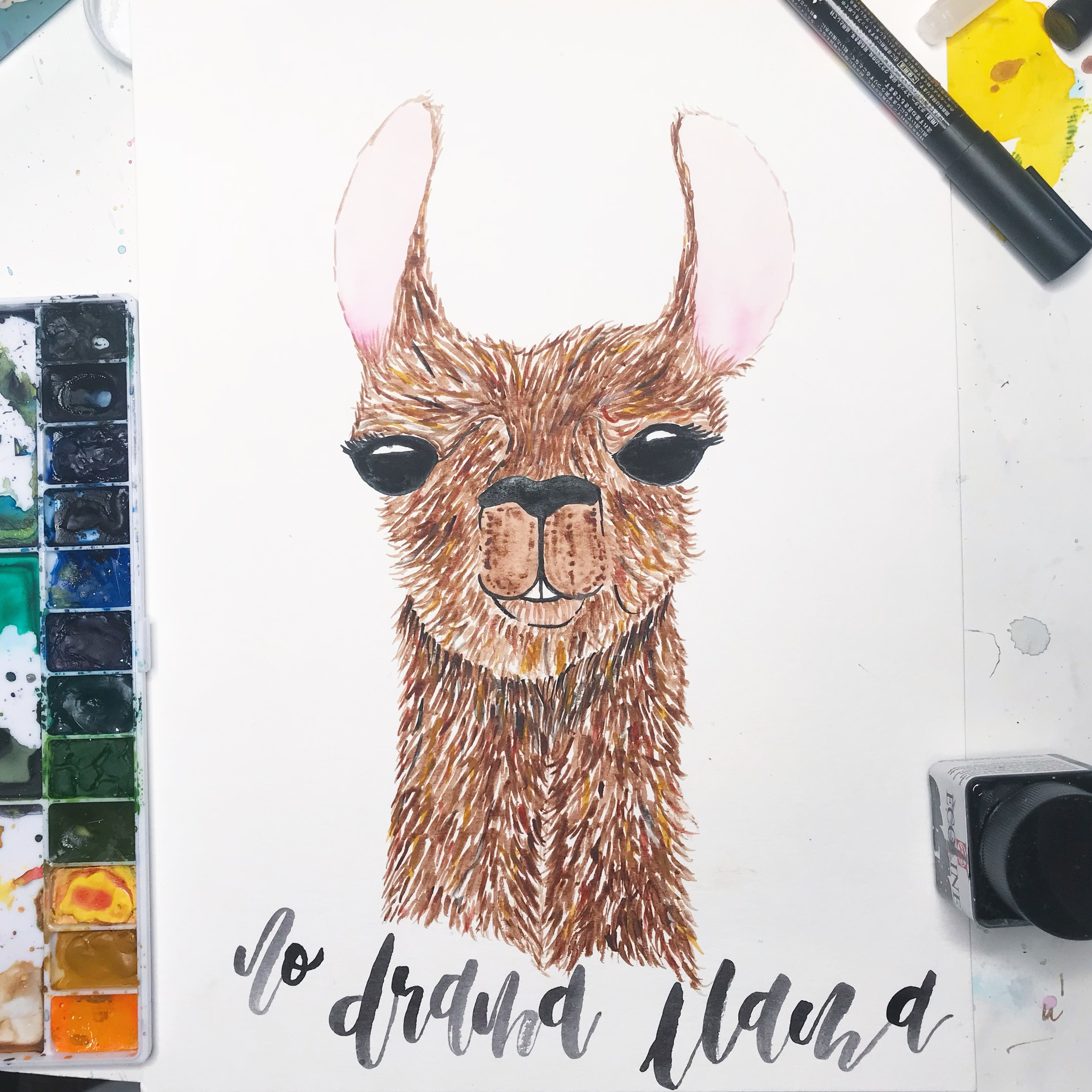 Alpaca  illustration.  Click here to check out my Etsy!