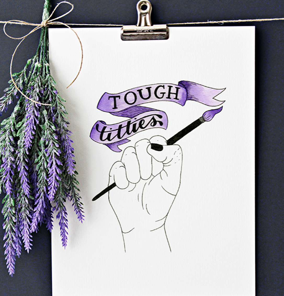 """""""Tough Titties""""  lettering with anchor illustration.  Click here to check out my Etsy!"""