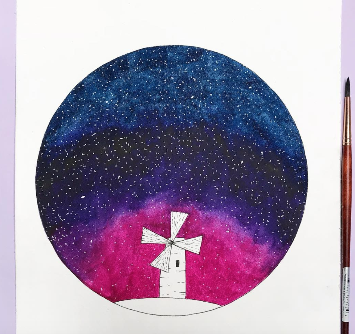 Windmill Galaxy  illustration.  Click here to check out my Etsy!
