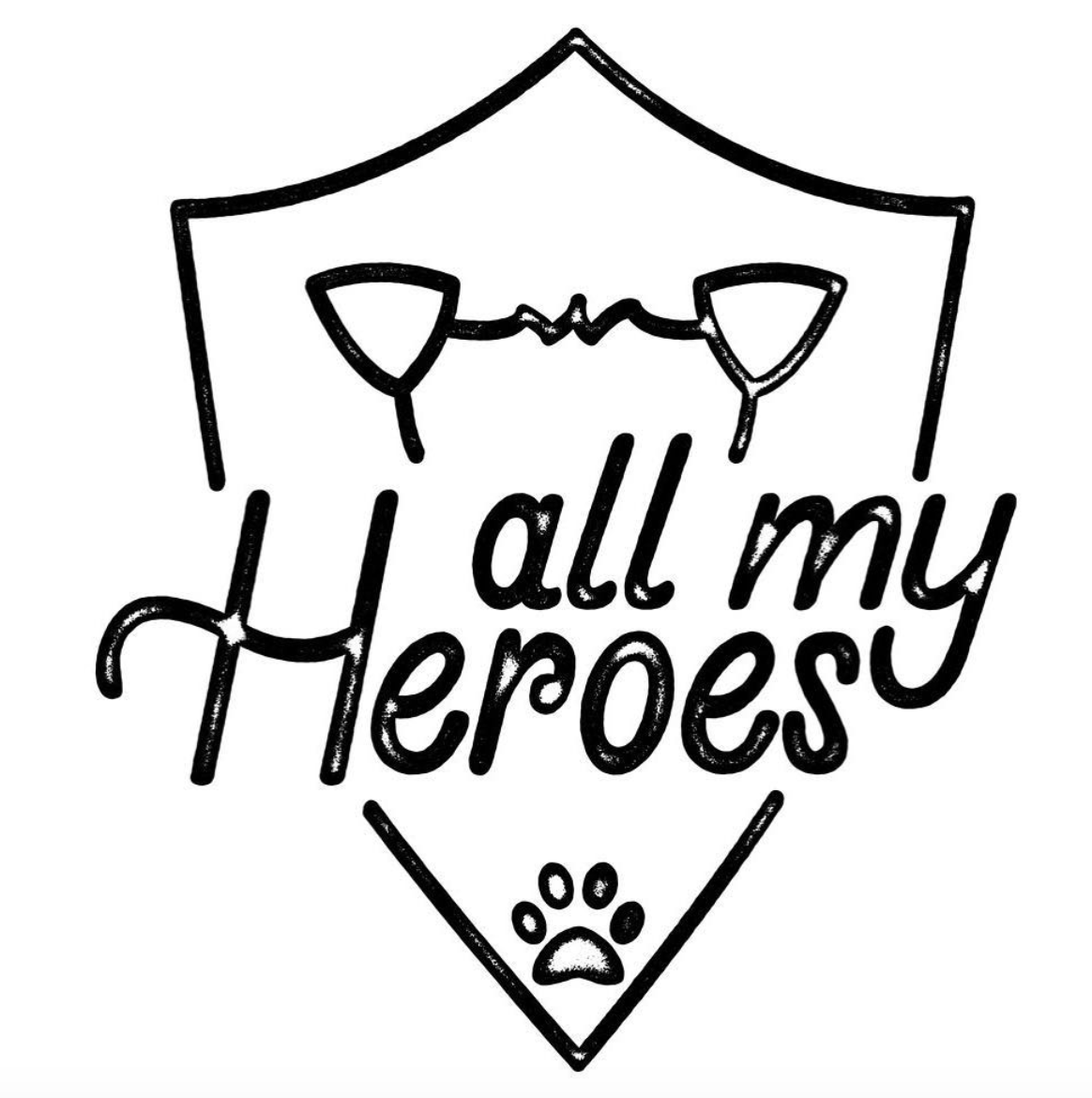 """""""All My Heroes""""  lettering with badge illustration.  Click here to check out my Etsy!"""