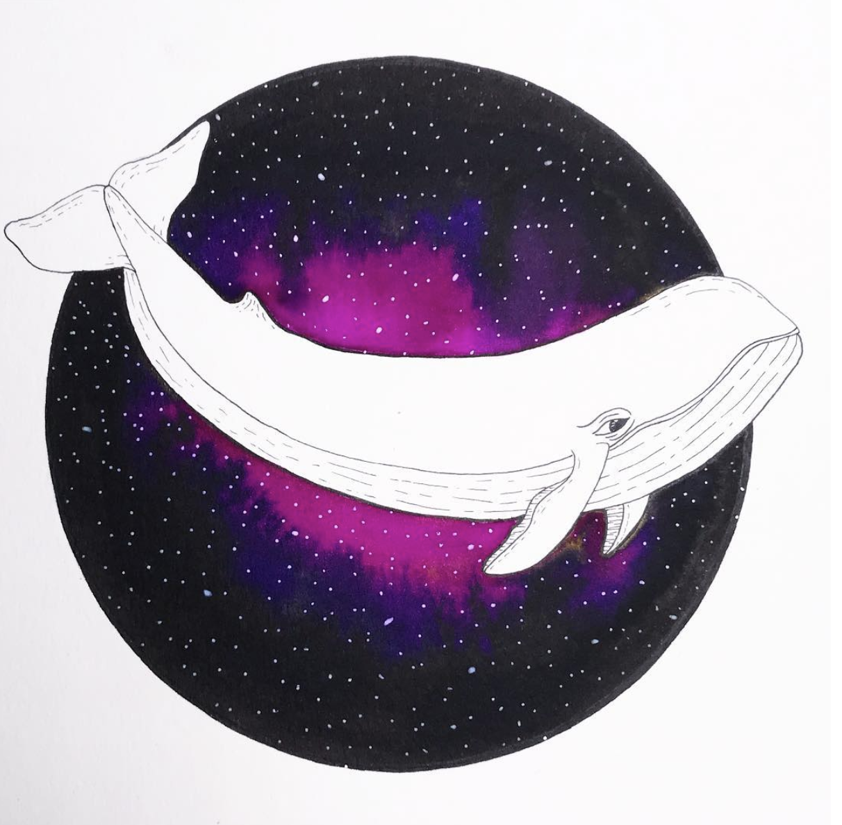 Galaxy Whale  illustration.  Click here to check out my Etsy!