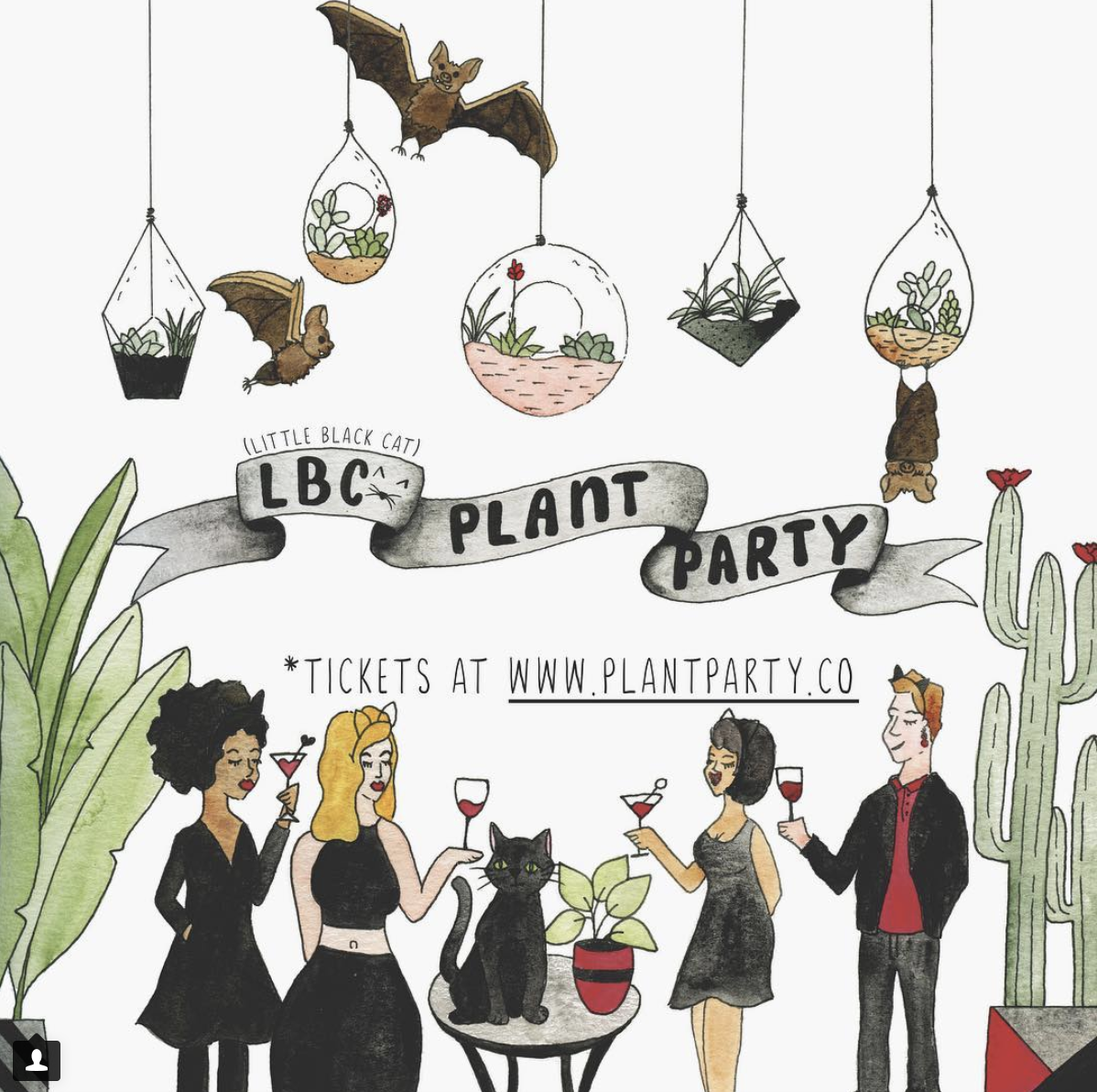 """""""LBC (Little Black Cat) Plant Party""""  lettering with illustration.  Click here to check out my Etsy!"""