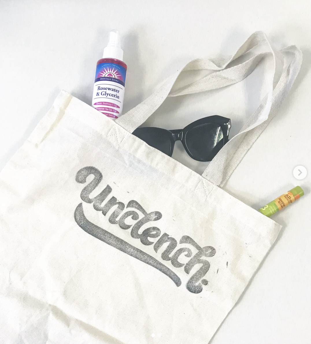 """""""Unclench""""  lettering tote bag.  Click here to check out my Etsy!"""