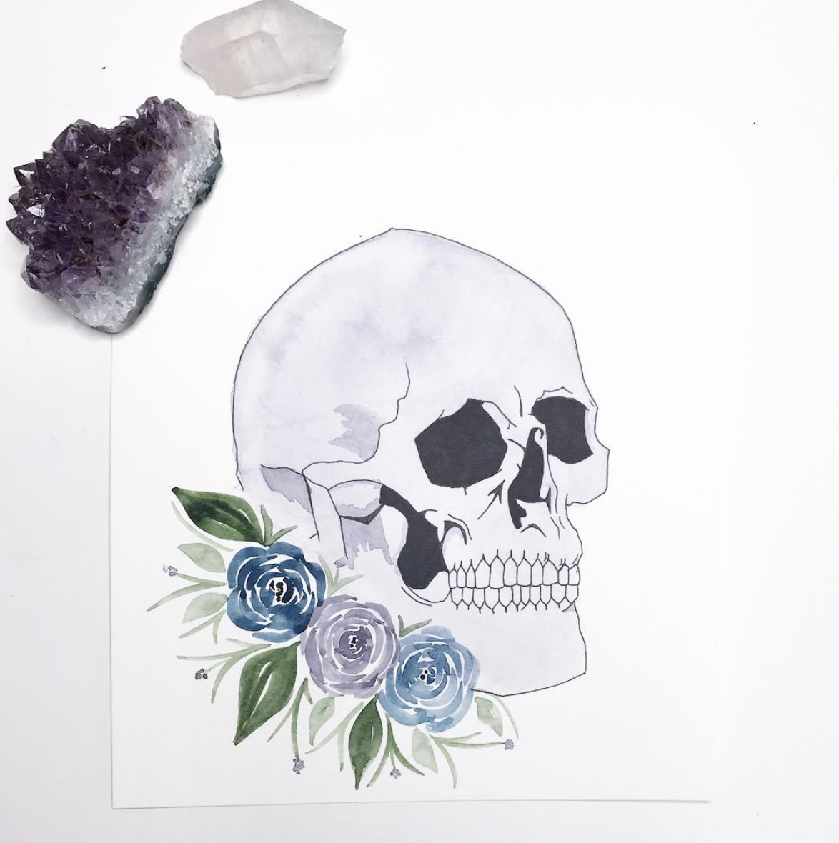 Skull & Flowers  illustration.  Click here to check out my Etsy!