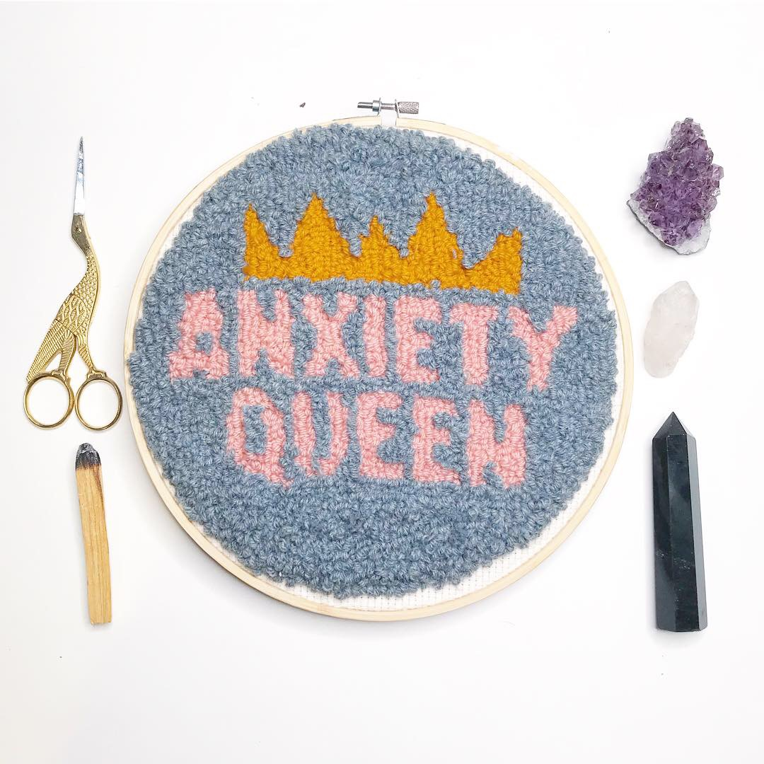 """""""Anxiety Queen""""  10 inch fuzzy round.  Click here to check out my Etsy!"""