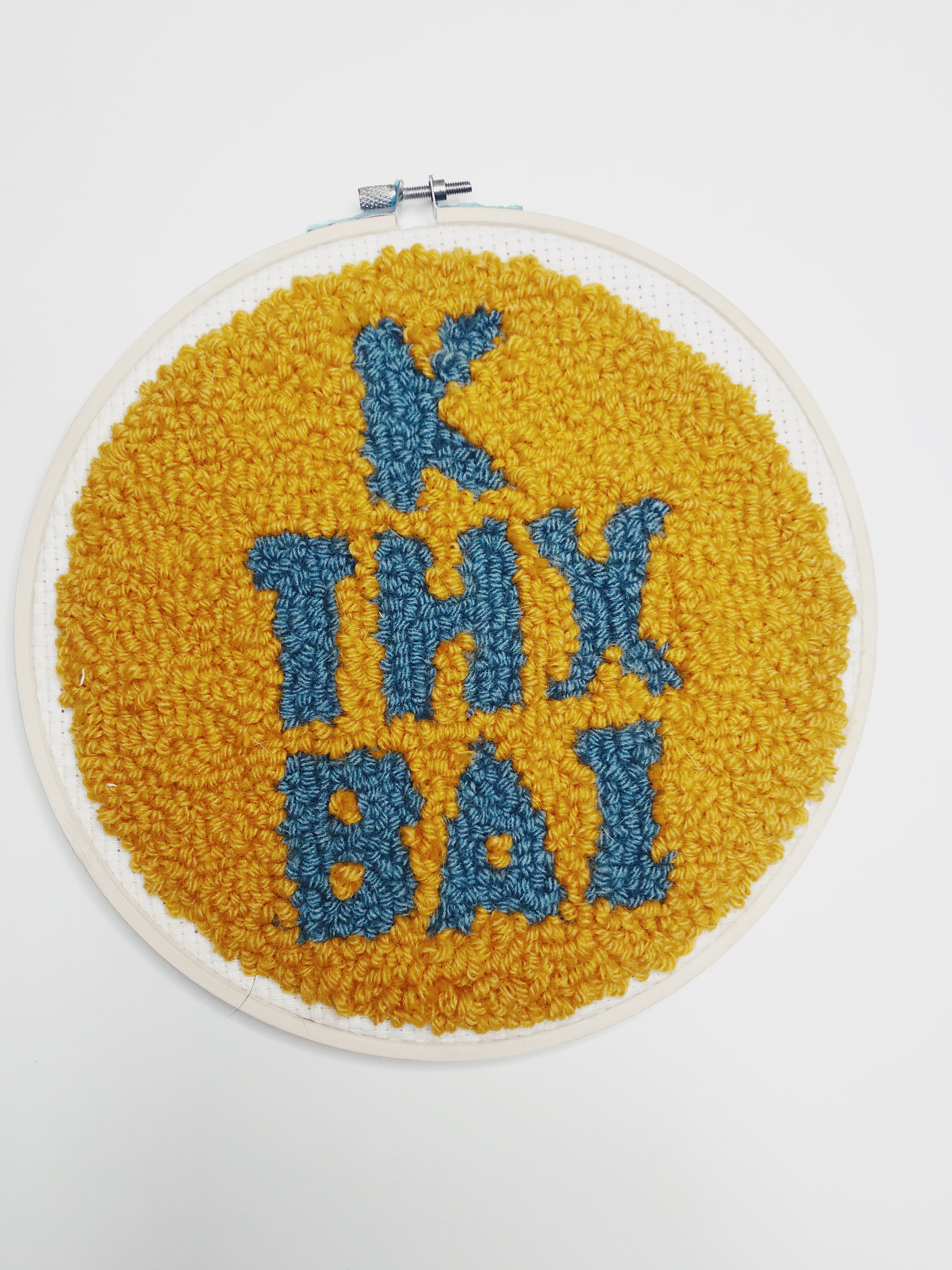 """""""KThxBai""""  10 inch fuzzy round.  Click here to check out my Etsy!"""