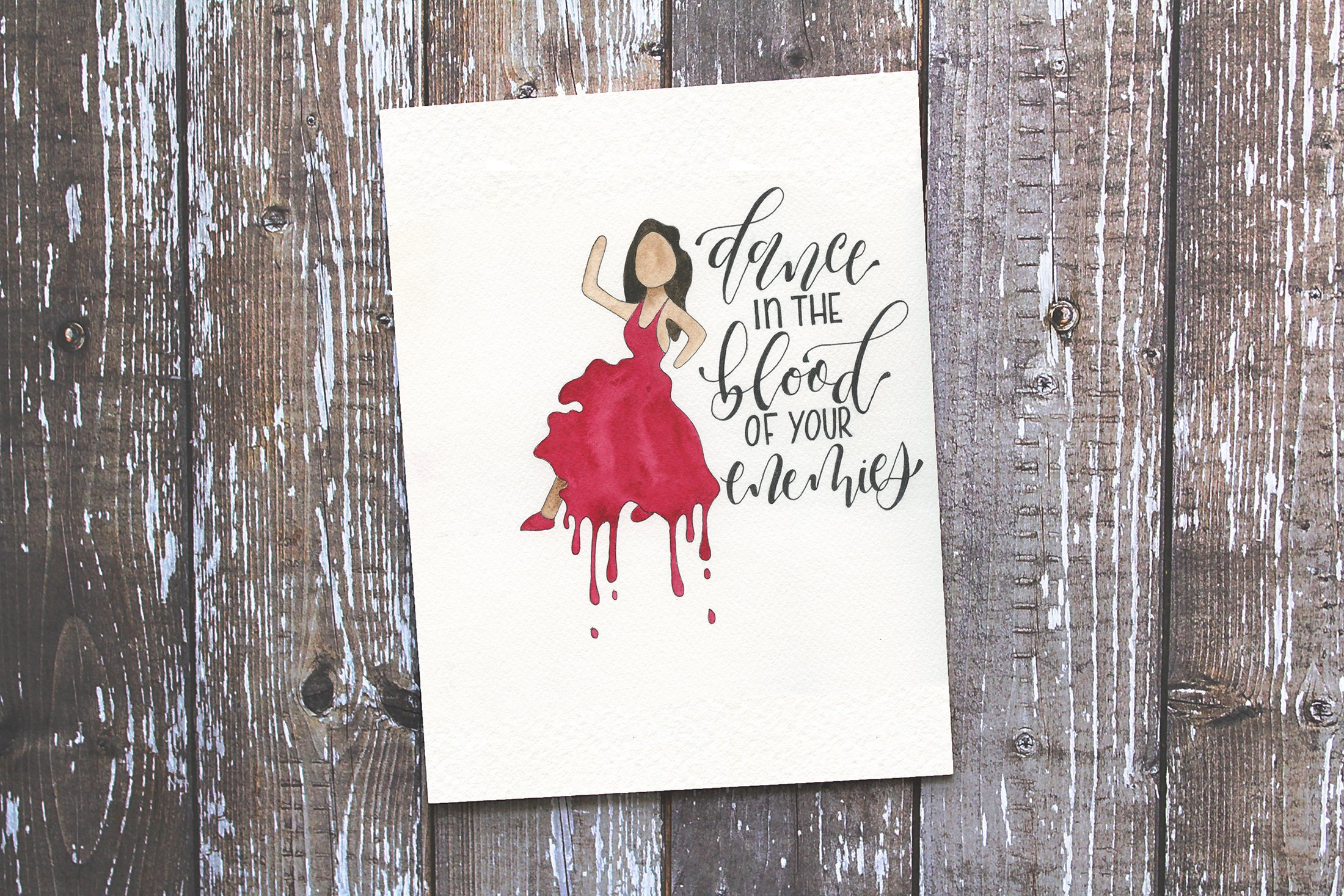 """""""Dance in the Blood of Your Enemies""""  lettering with dancing woman emoji illustration.  Click here to check out my Etsy!"""