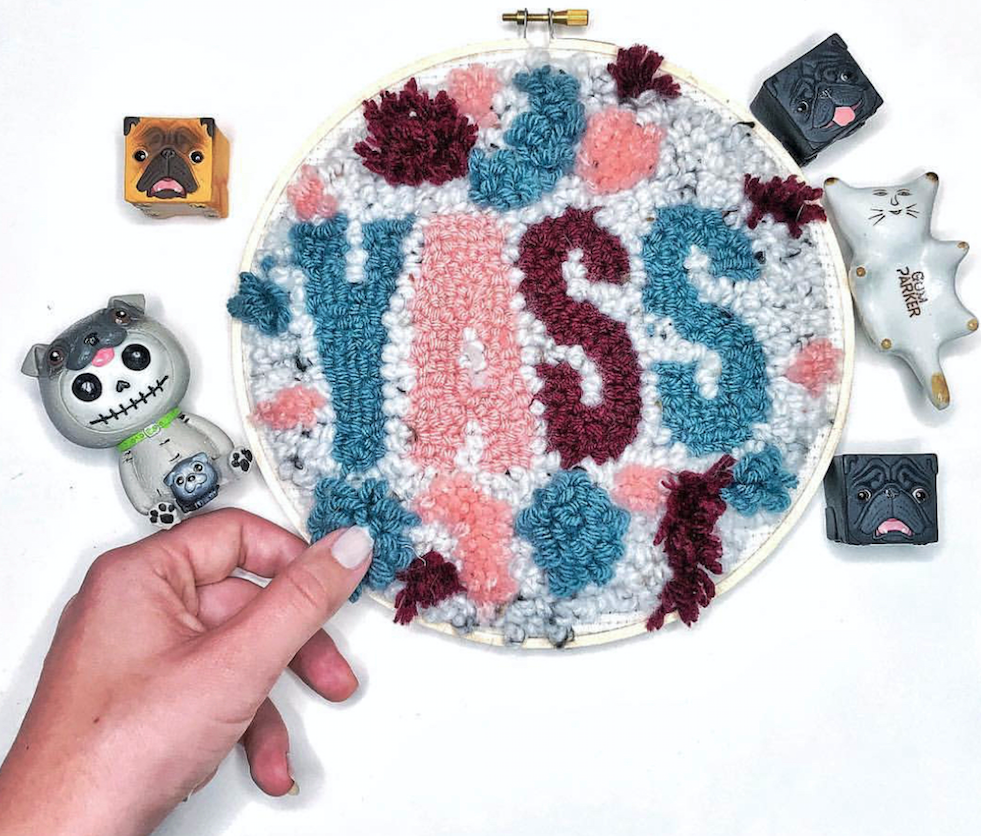 """""""YASS""""  10 inch fuzzy round.  Click here to check out my Etsy!"""