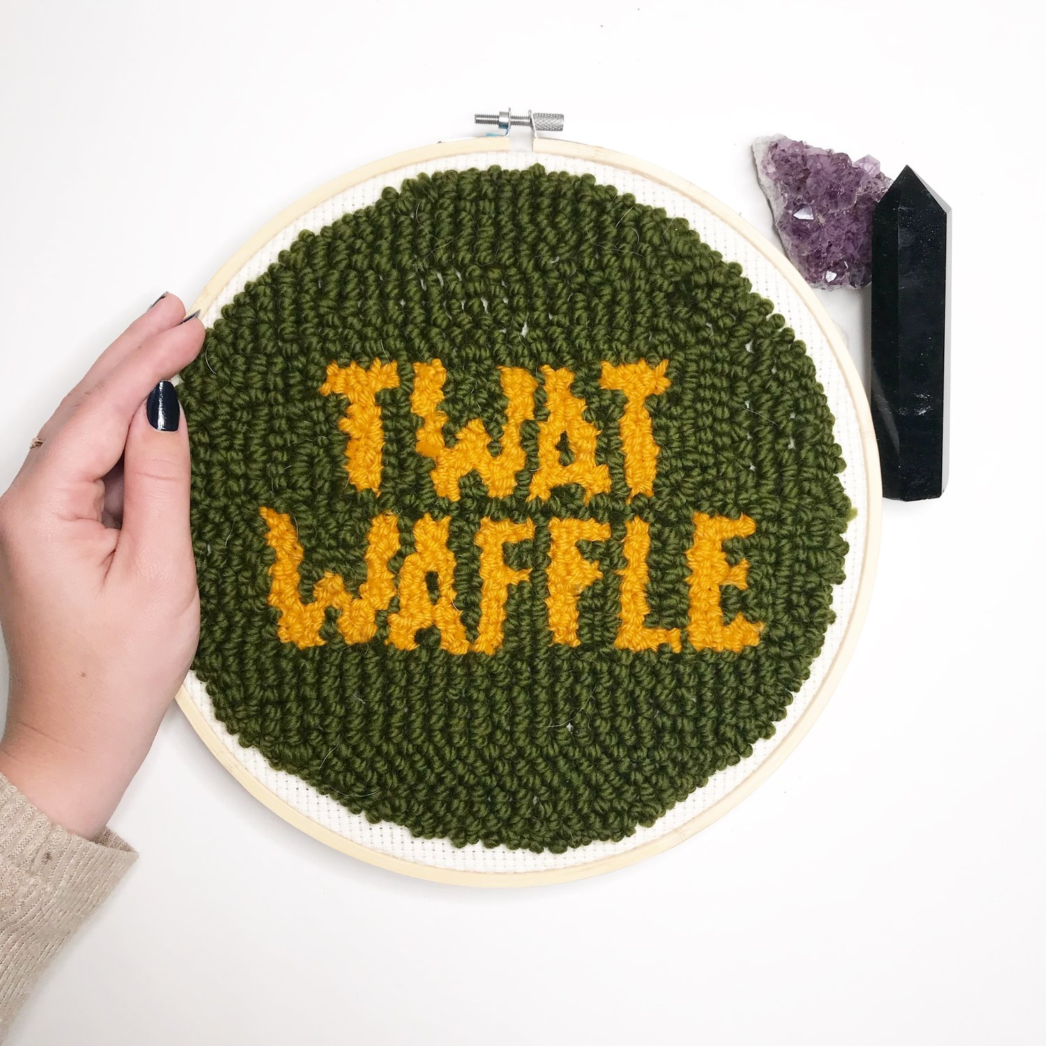 """""""Twat Waffle""""  10 inch fuzzy round.  Click here to check out my Etsy!"""
