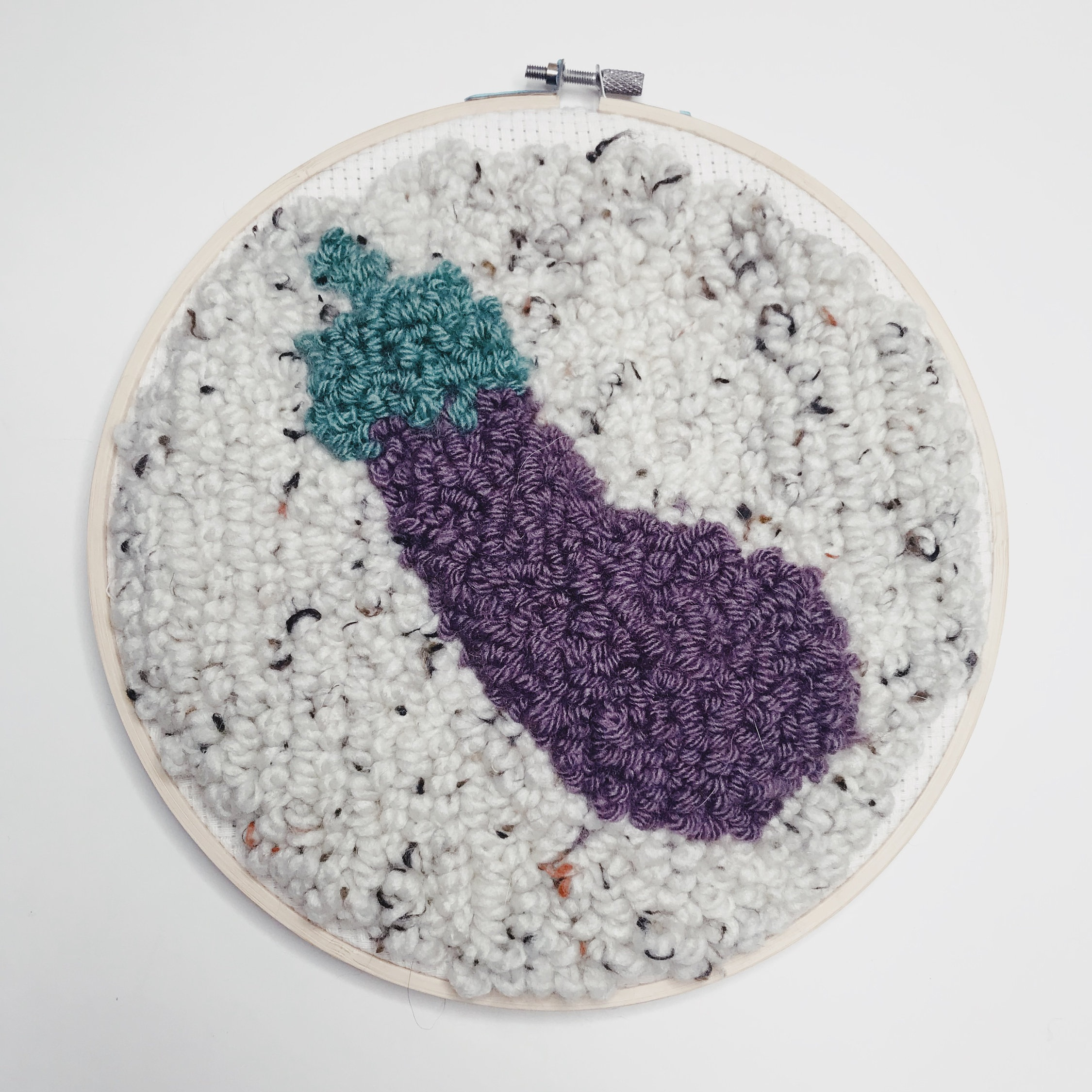 """""""Eggplant Emoji""""  10 inch fuzzy round.  Click here to check out my Etsy!"""