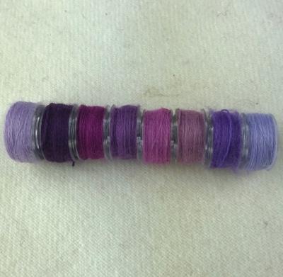 - Pinkish & Purple Bobbins - Aurifil Wool Thread - 8 Assorted Colors
