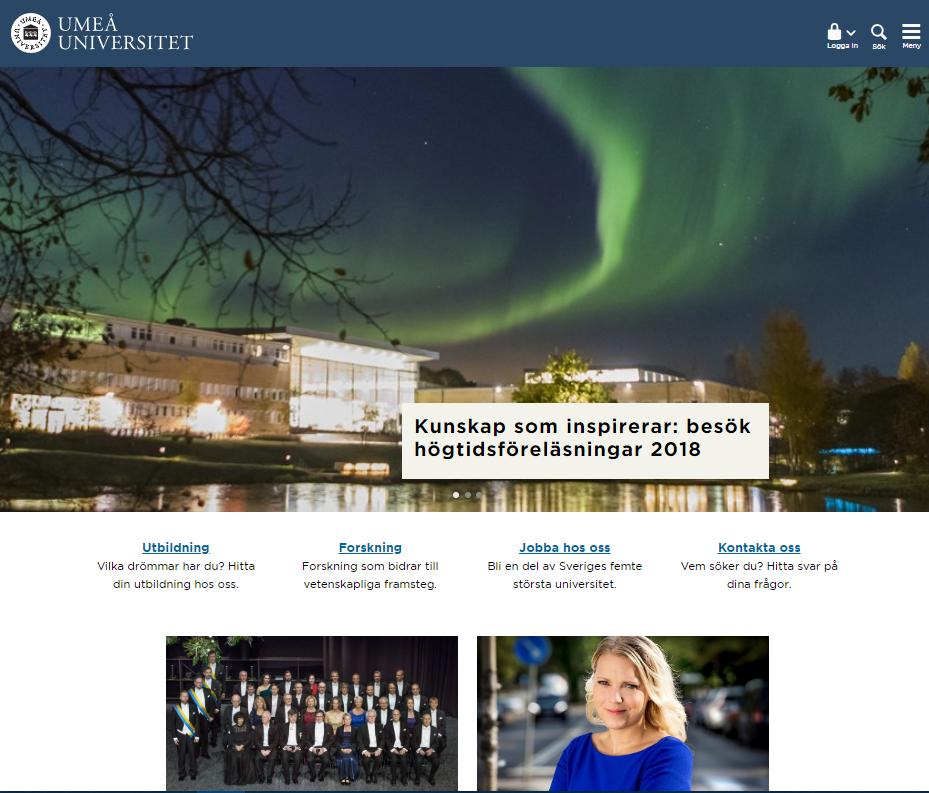 1. Umeå universitethttps://www.umu.se/ - Design: 9/10Funktionalitet: 8/10Kan man logga in från startsidan?: JaUmeå har en snygg och väldigt funktionell hemsida med ett enkelt gränssnitt och trevliga färger. Hemsidan är lätt att navigera med en bra sökfunktion.