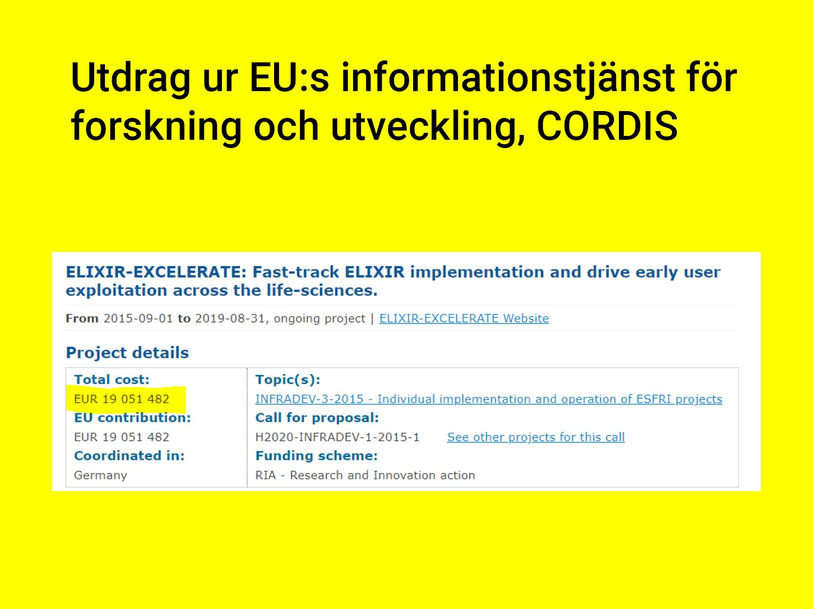 CORDIS – så här redovisas ett forskningsprojekt inom EU med en budget på 19 miljoner Euro fördelat på 18 länder. -