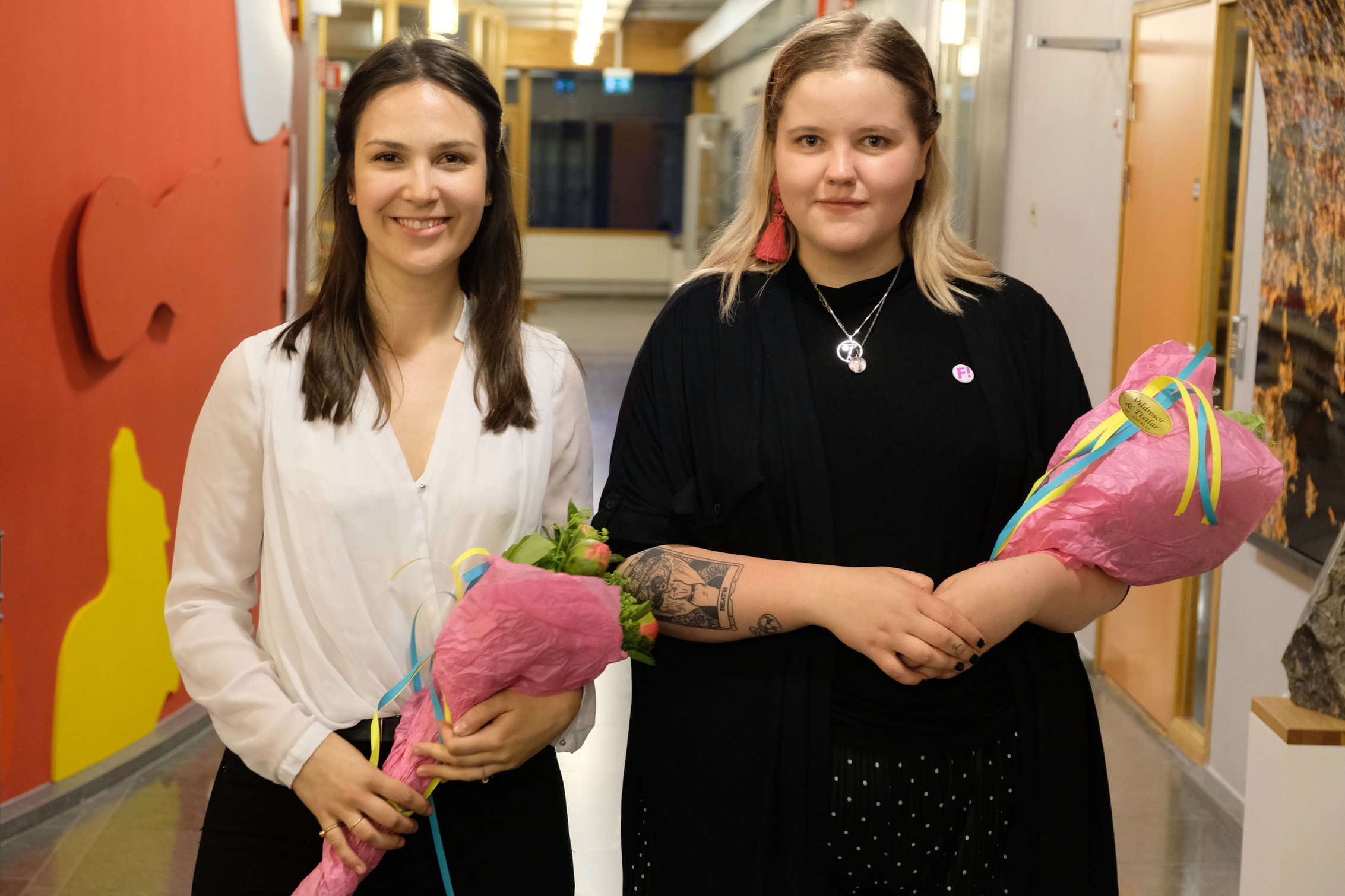 Martina Cederlid (S-studenter) och Sofia Holmdahl (Fi-studenter) FOTO: Felix Lidéri