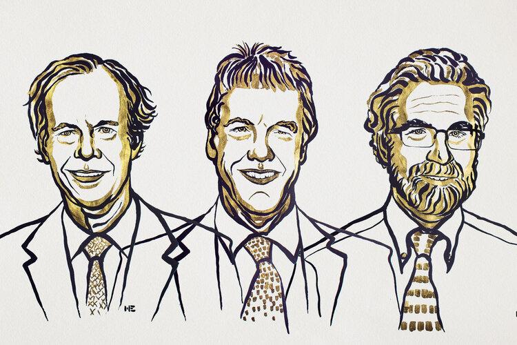 William G. Kaelin Jr., Sir Peter J. Ratcliffe och Gregg L. Semenza © Nobel Media 2019. Illustration: Niklas Elmehed