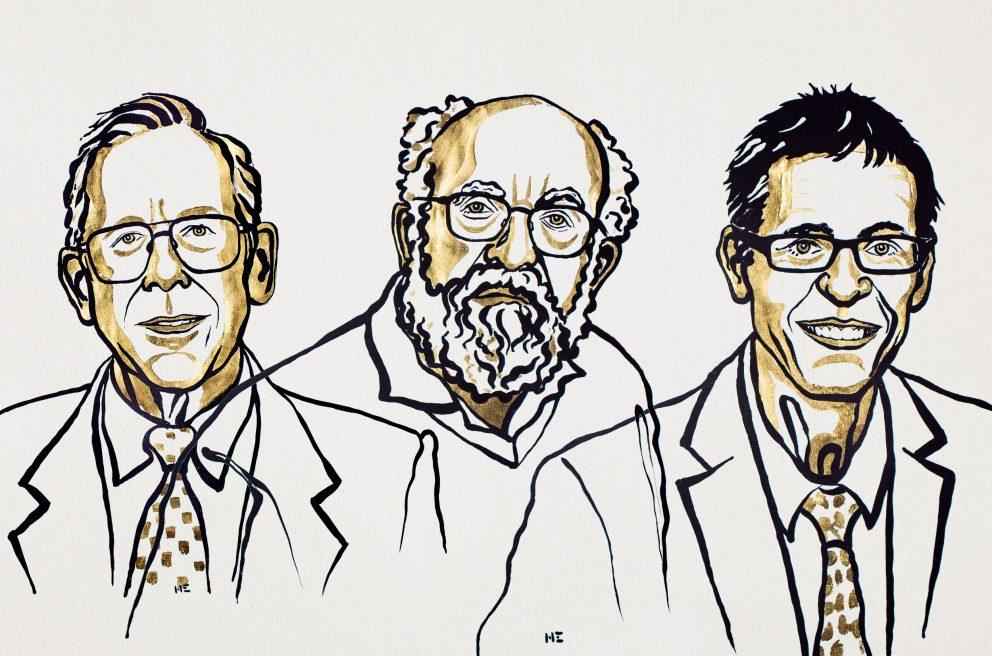 James Peebles, Michel Mayor and Didier Queloz © Nobel Media 2019. Illustration: Niklas Elmehed