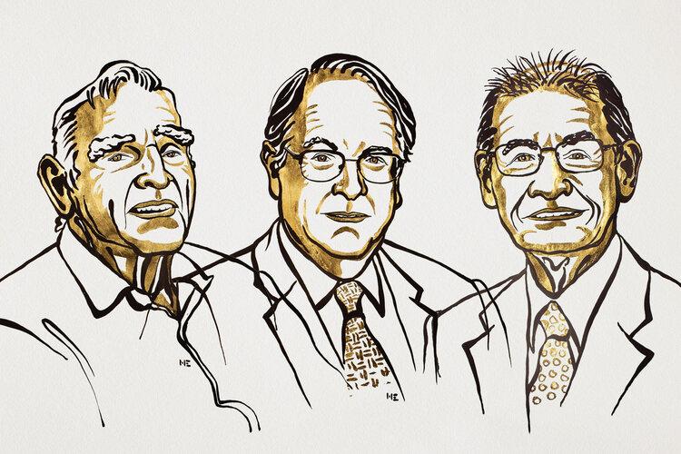 John B. Goodenough, M. Stanley Whittingham och Akira Yoshino © Nobel Media 2019. Illustration: Niklas Elmehed