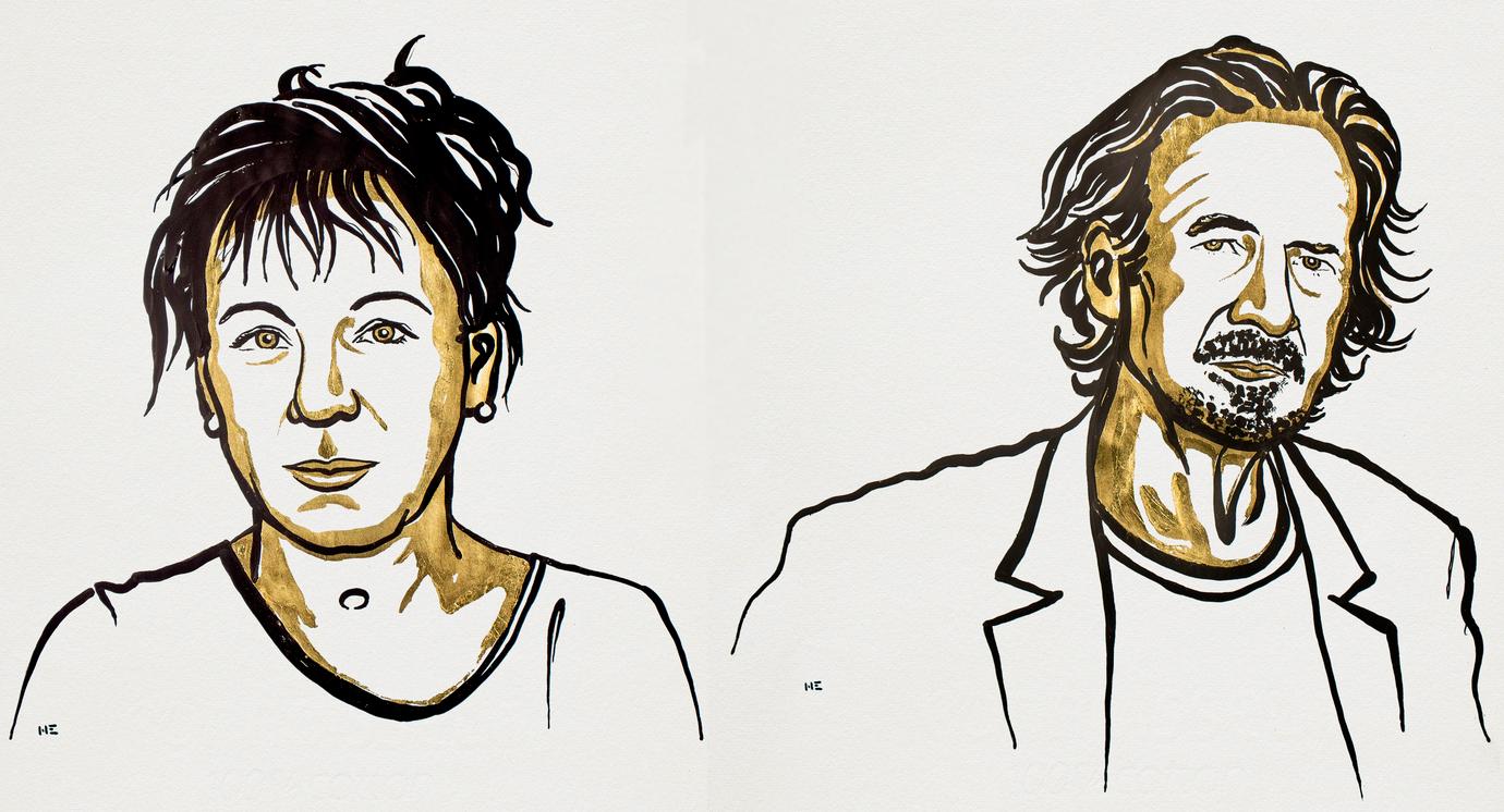 Olga Tokarczuk och Peter Handke © Nobel Media 2019. Illustration: Niklas Elmehed