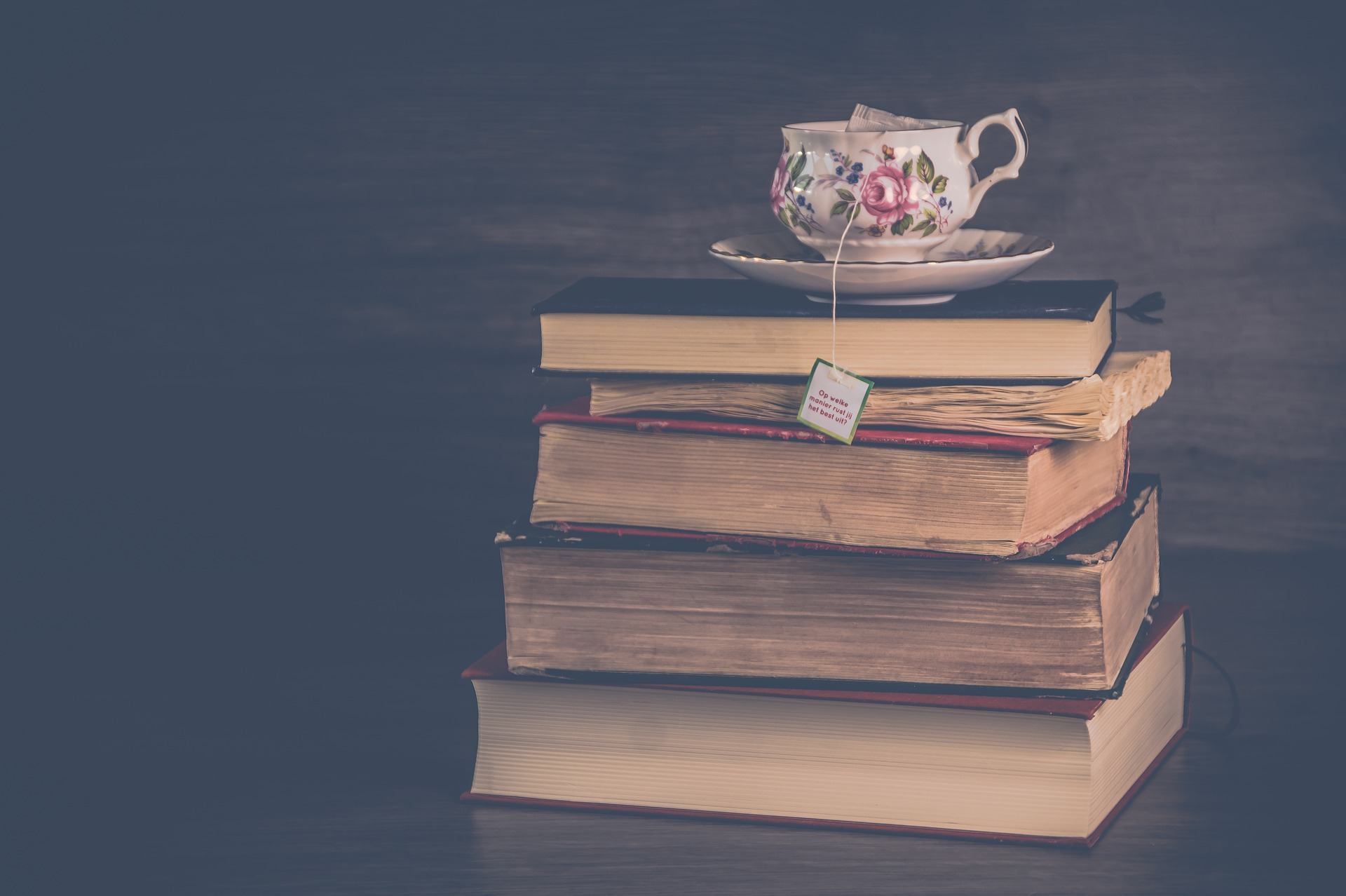 Create a 2019 reading list. Pictured: Tea cup on stack of books.