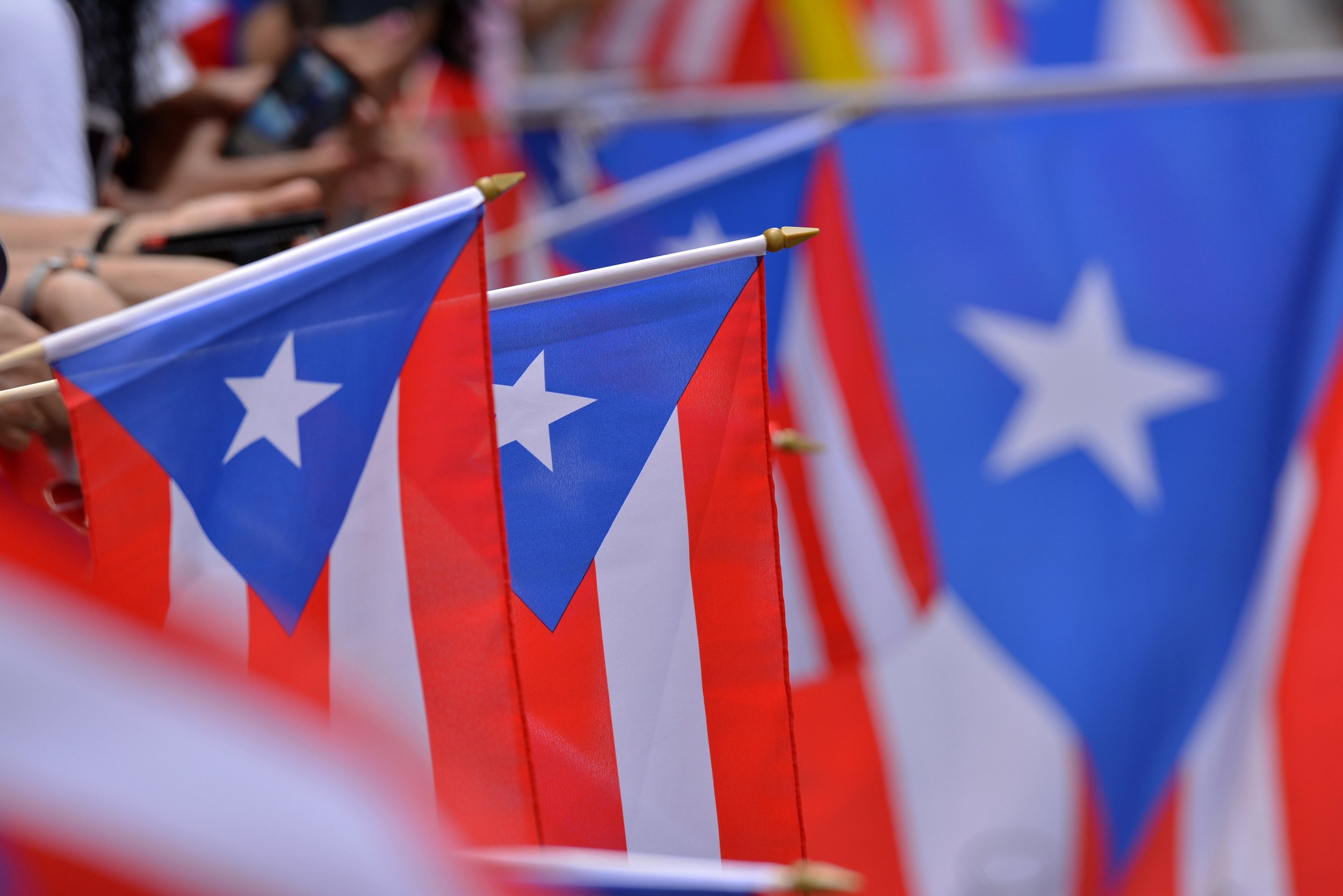 Pictured: Puerto Rican flags.