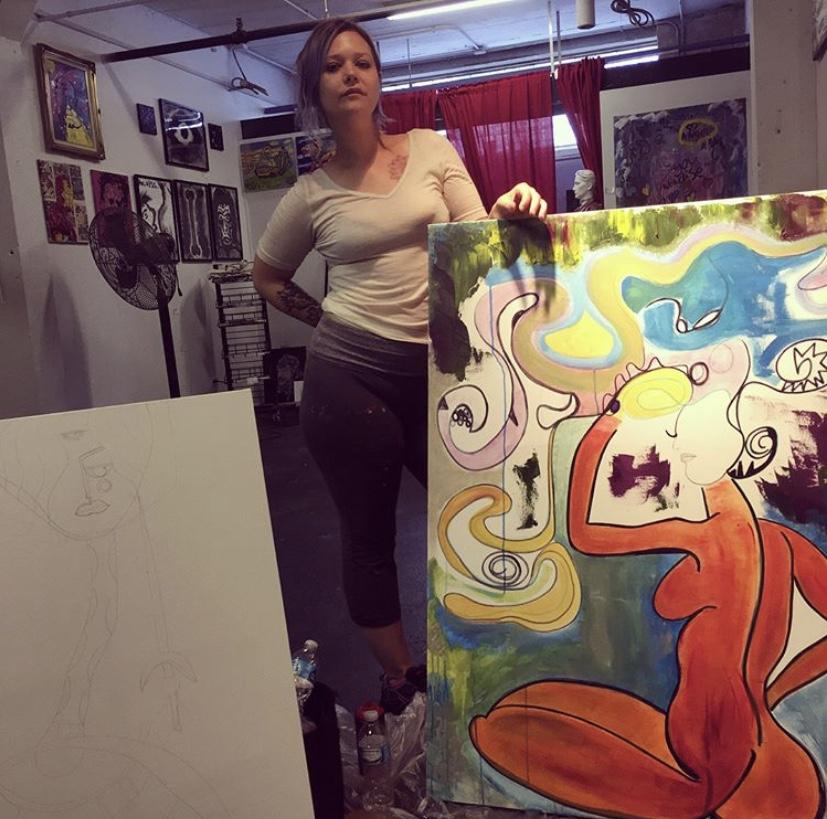Rachel Lechoki with original pieces.
