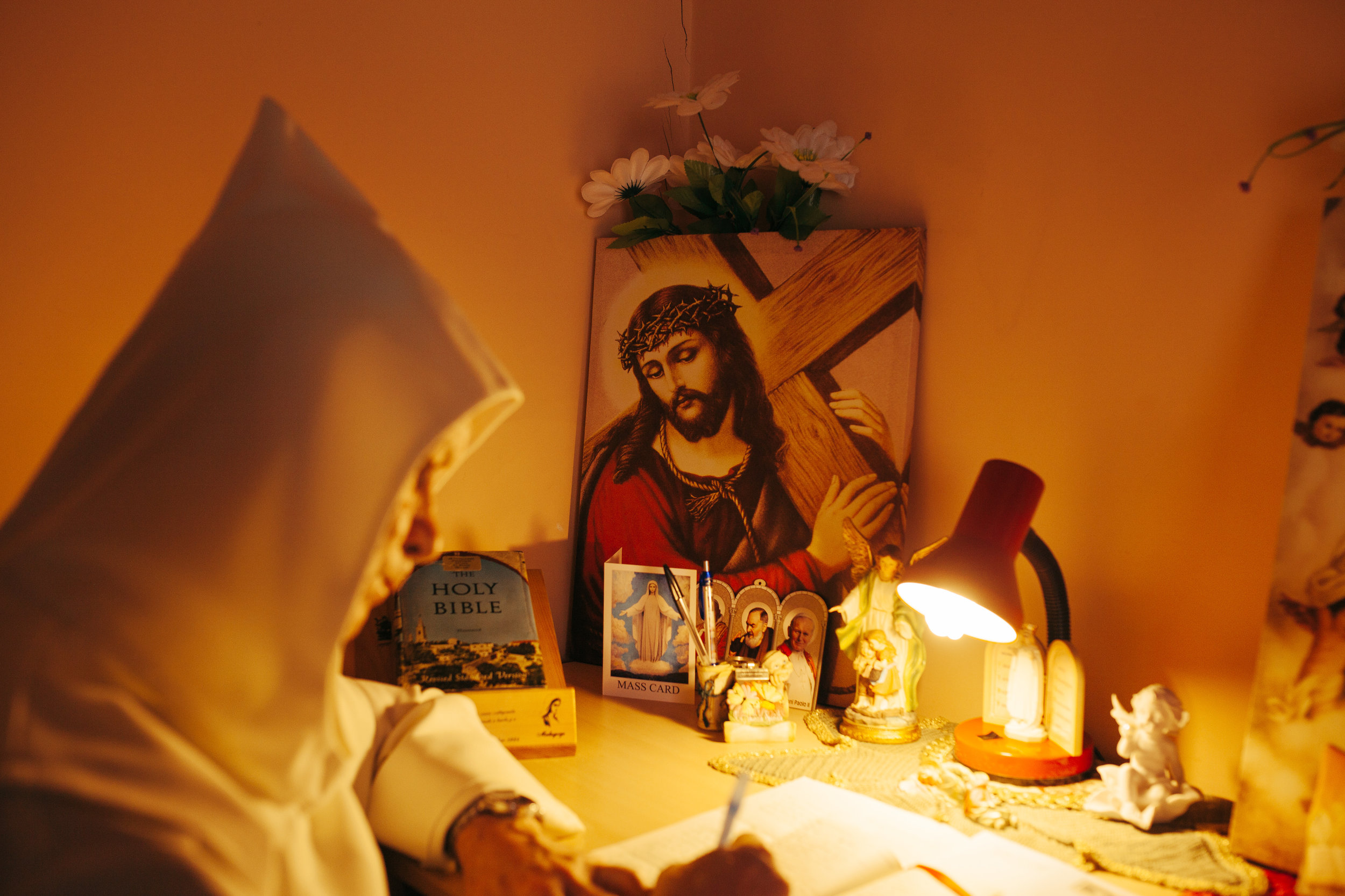 Holy Inspiration - Icons of Jesus inspire Fr.David Jones in his writing.