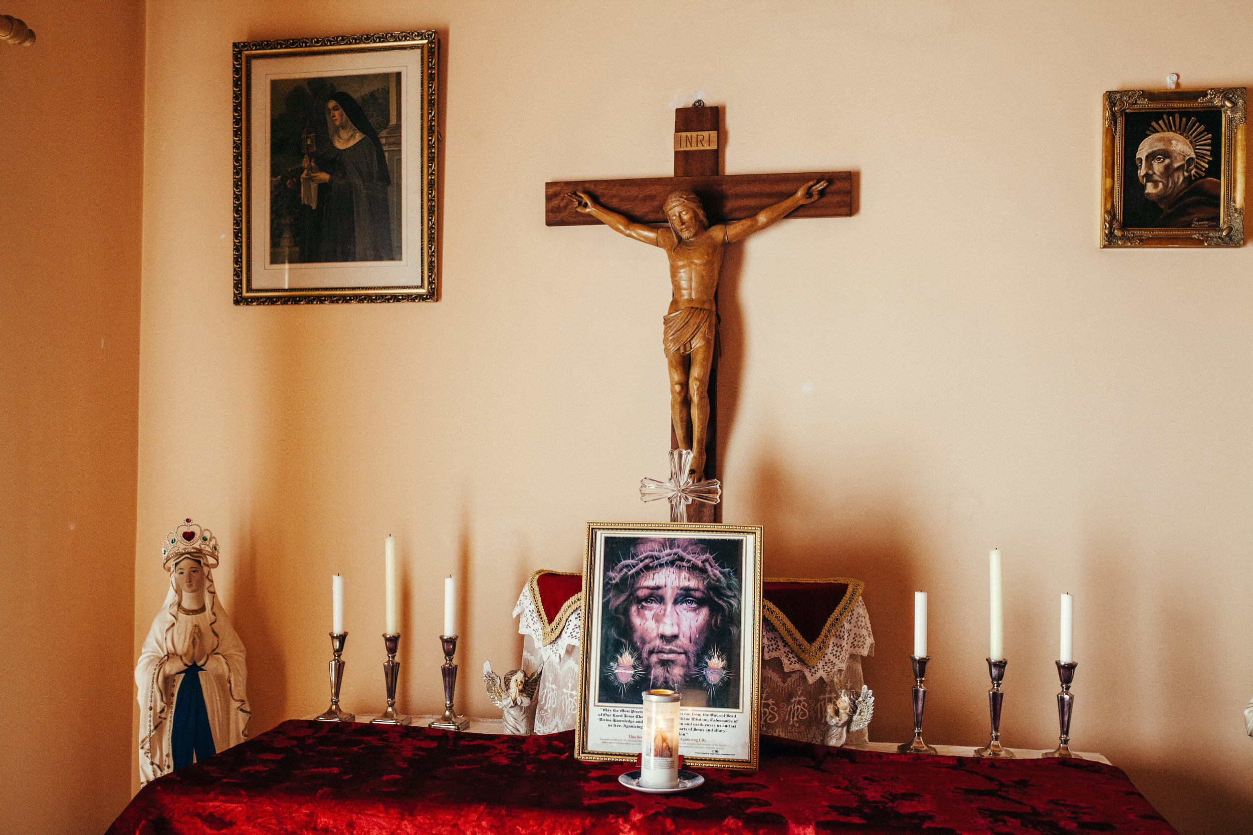 The Altar - Fr.David has two altars of which pictured here contains a relic of the true Cross of Christ.