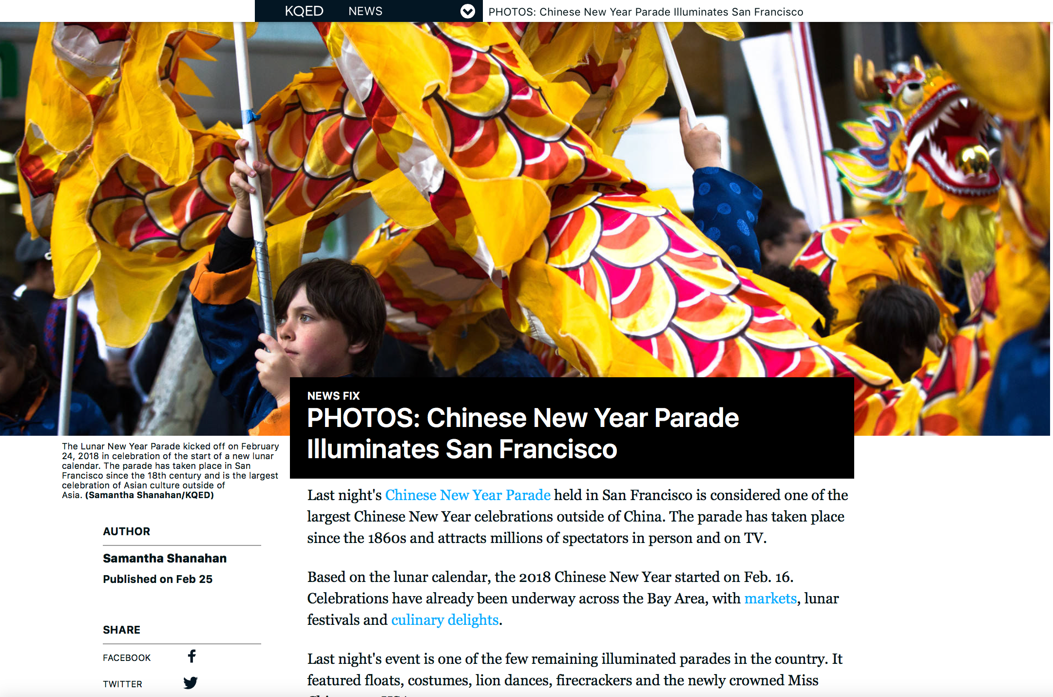 (KQED/News Fix) Chinese New Year Parade Illuminates San Francisco