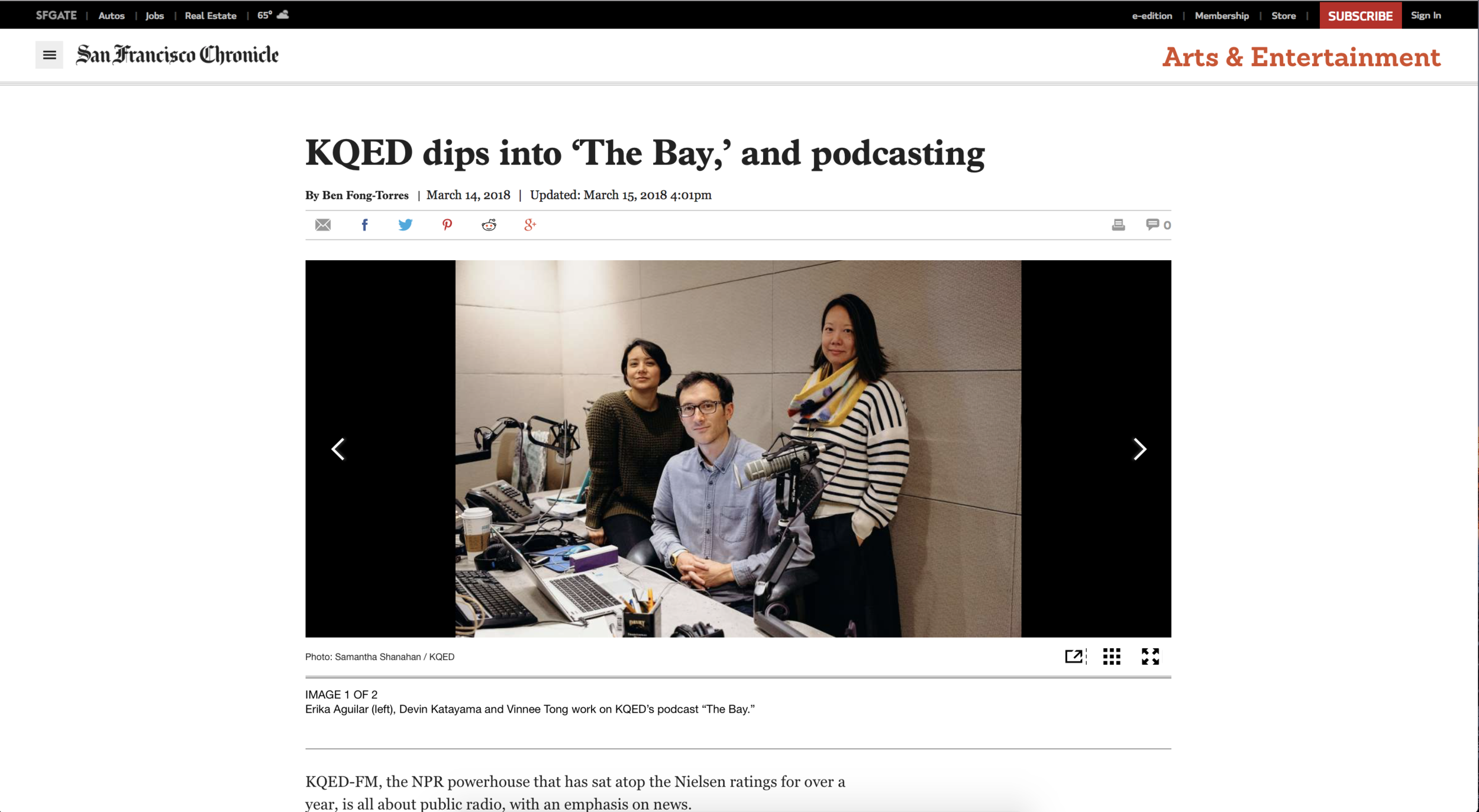 "(San Francisco Chronicle) KQED dips into ""The Bay"", and podcasting"