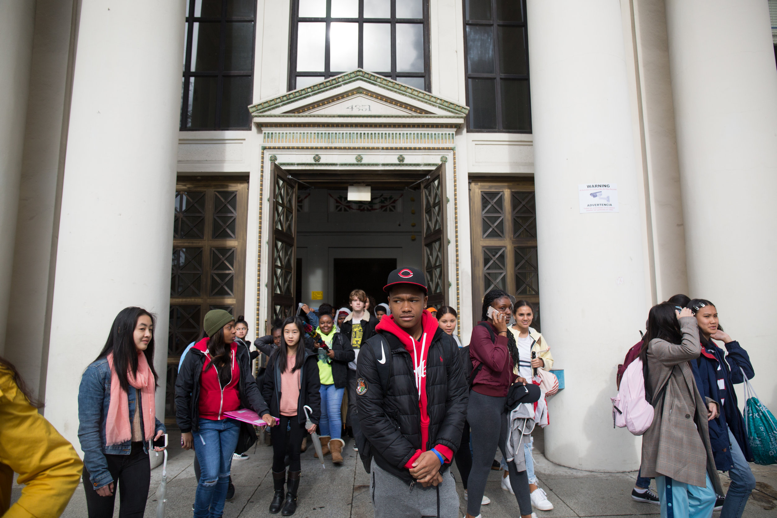 Students at Oakland Technical High School joined a nationwide walkout to press for stricter gun control on March 14, 2018, one month following the mass shooting at Parkland High School that killed 17.