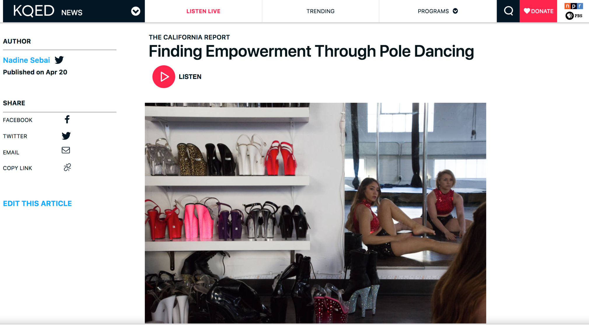 (KQED/The California Report) Finding Empowerment Through Pole Dancing
